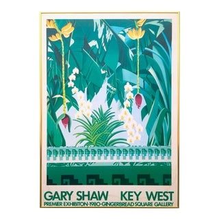 "Vintage 1980 "" Gary Shaw Key West "" Tropical Botanical Lithograph Print Framed Exhibition Poster For Sale"