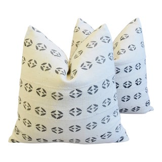 """Mali Tribal Mud Cloth Feather/Down Pillows 22"""" Square - Pair For Sale"""