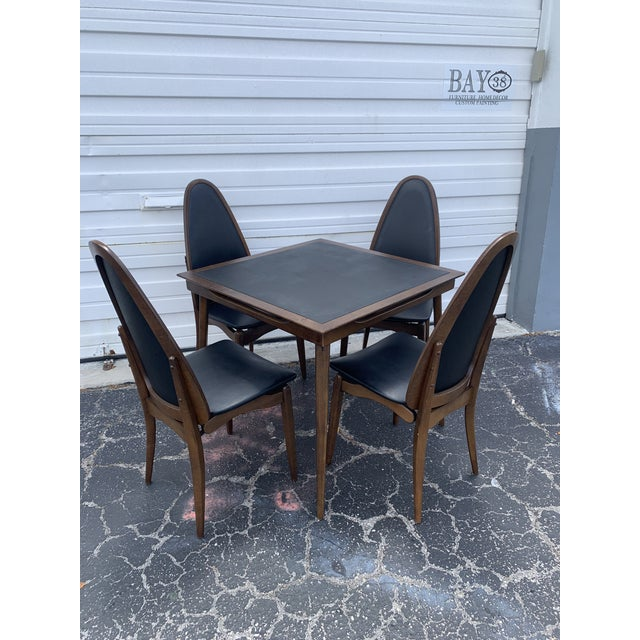 1960's Stakmore Danish Modern Game Table and 4 Chairs - 5 Pieces For Sale - Image 9 of 9