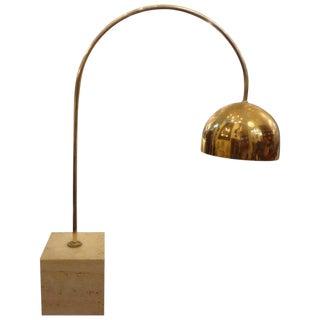 Harvey Guzzini Italian Mid Century Brass and Travertine Lamp For Sale