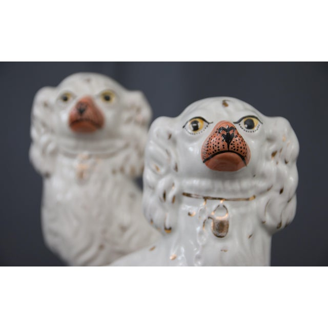 English Traditional Large Antique English Staffordshire Spaniel Dogs - a Pair For Sale - Image 3 of 10