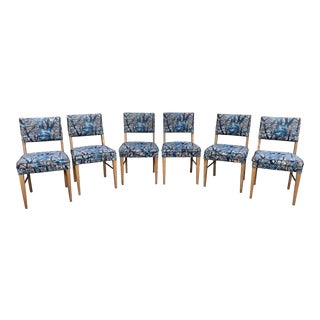 1950s Contemporary Blue Upholstered Dining Chairs - Set of 6 For Sale