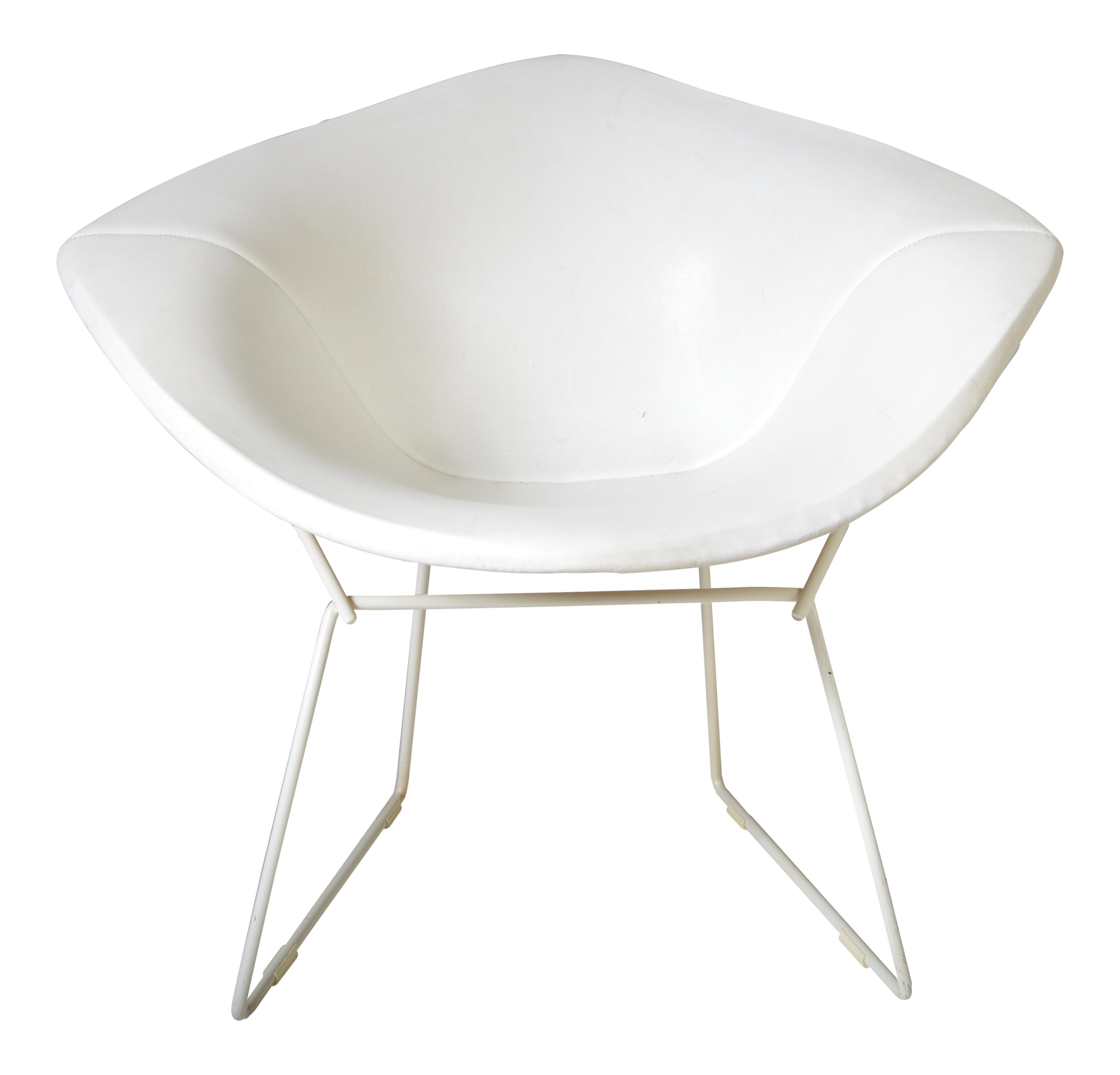 Early Harry Bertoia For Knoll Diamond Chair In Rare White With White Leather