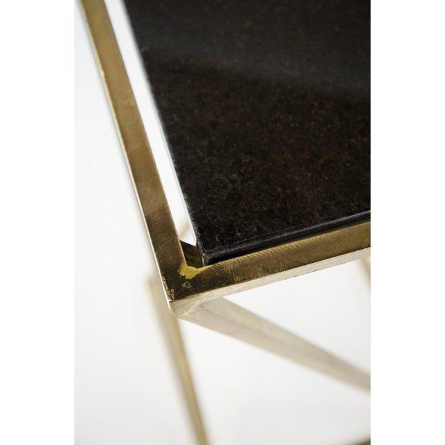 Modern Gold Steel & Black Granite Accent X Frame Tables - A Pair - Image 5 of 11