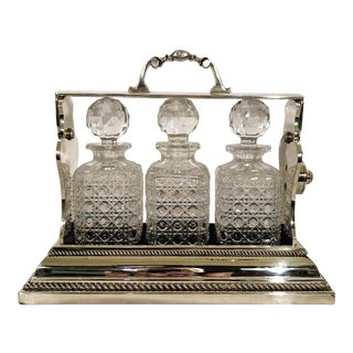 Antique English Sheffield Silver Mounted Cut Crystal Tantalus. For Sale