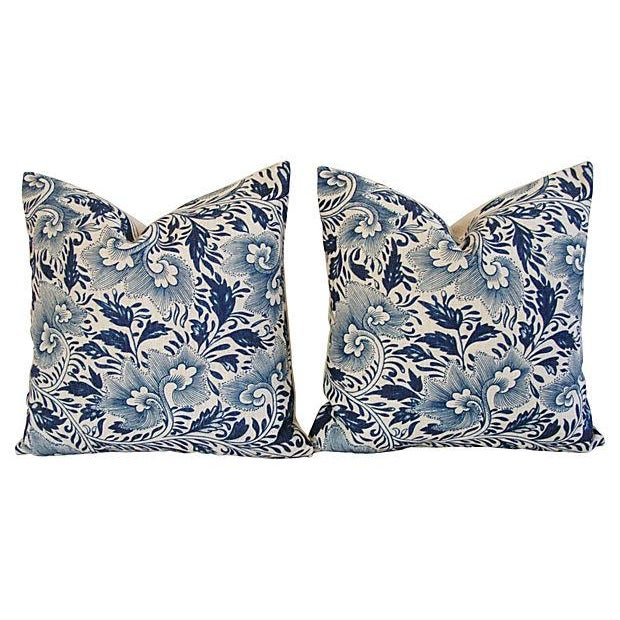 Blue Floral Linen Down/Feather Pillows - A Pair - Image 6 of 7
