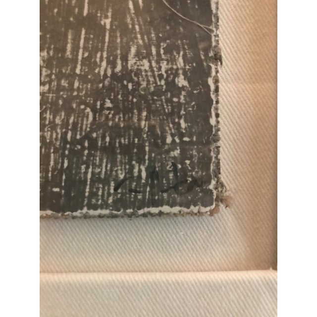 """This 5""""x 5"""" painting is created using Gesso over burlap in shades of charcoal and gray mounted over wood. The detailed..."""