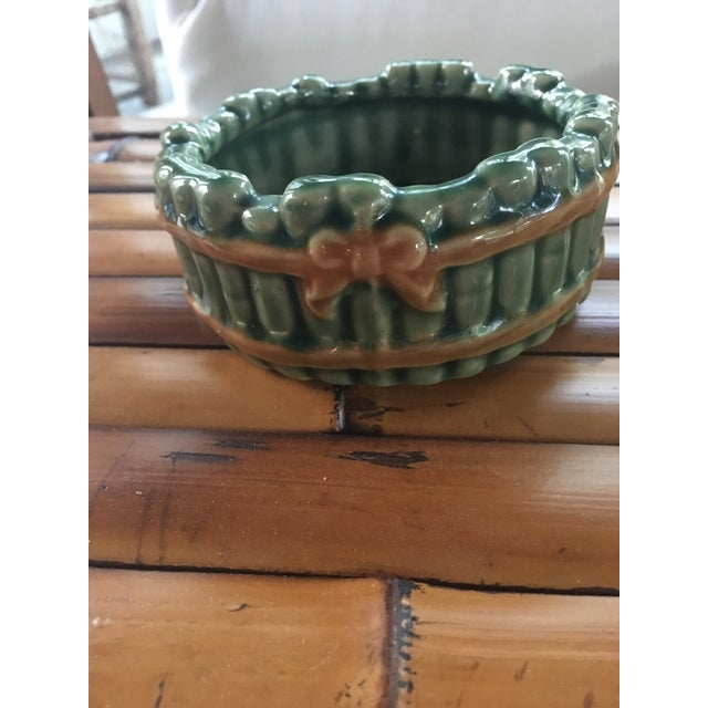 Vintage Faux Bamboo Green Ceramic Ashtray For Sale - Image 4 of 7