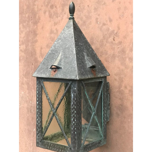 1930s Vintage Tudor Style Bronze Outdoor Wall Sconce For Sale - Image 5 of 6