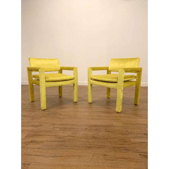 1970s Velvet Milo Baughman for Thayer Coggin Parsons Chairs - a Pair For Sale - Image 5 of 6