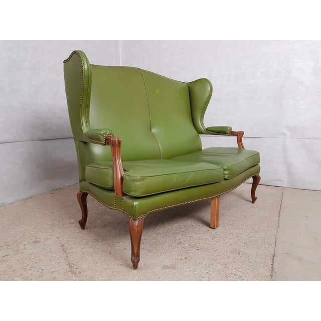 Vintage Mid 20th. C. Queen Anne Style Wing Sofa and 2 Wing Armchairs Suite For Sale - Image 4 of 13