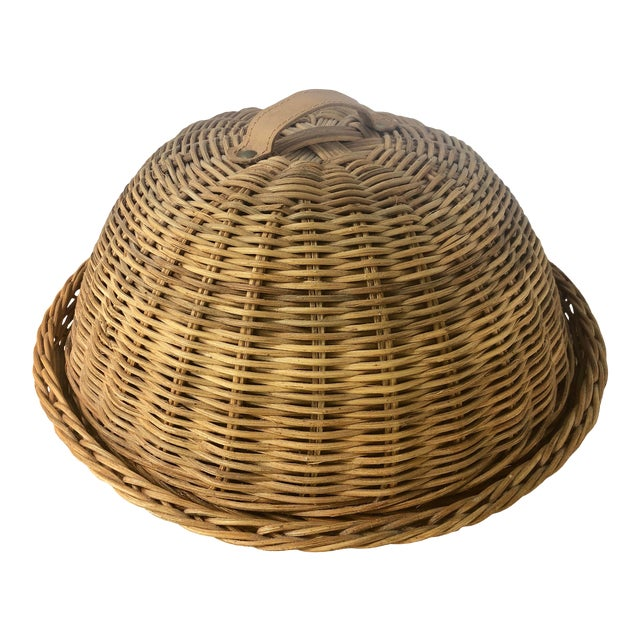 Large French Cloche Cheese Bell in Natural Woven Wicker Rattan With Leather Handle For Sale