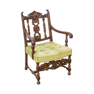 1920s Jacobean Style Solid Mahogany Carved Arm Chair (Possibly Kittinger) For Sale