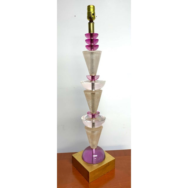 Plastic Modern Van Teal Lucite Column Lamps -A Pair For Sale - Image 7 of 9