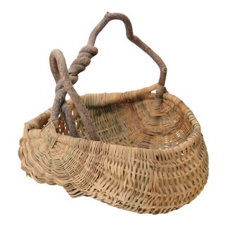 Antique Folk Woven Basket For Sale
