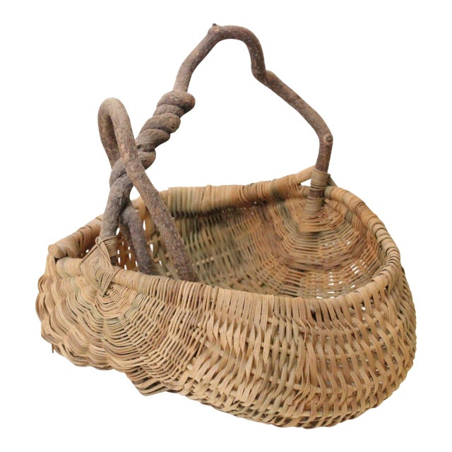 Early 20th Century Antique Folk Woven Basket For Sale