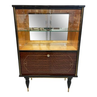 1940's Classic French Art Deco Flame Mahogany Dry Bars Cabinet or Vitrine For Sale