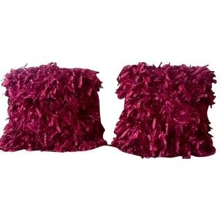 """Burgundy """"Confetti"""" Pillows - A Pair"""