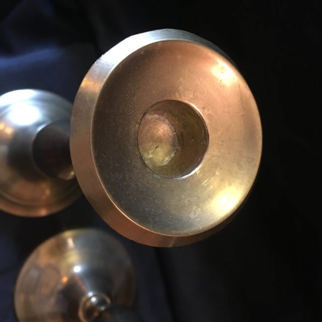 Traditional Vintage Brass Candle Sticks - a Pair For Sale - Image 3 of 7
