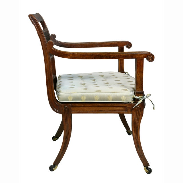 Regency Mahogany and Ebony Inlaid Armchair For Sale - Image 10 of 13