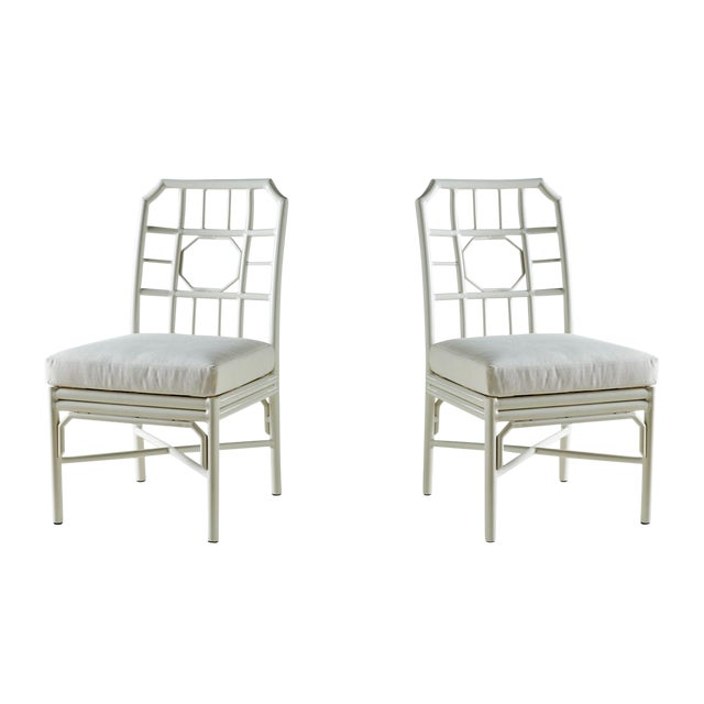 Pair of Regeant White 4 Season Side Chairs With Cushions - Image 1 of 3