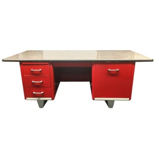 Vintage Red Tanker Desk by Ase