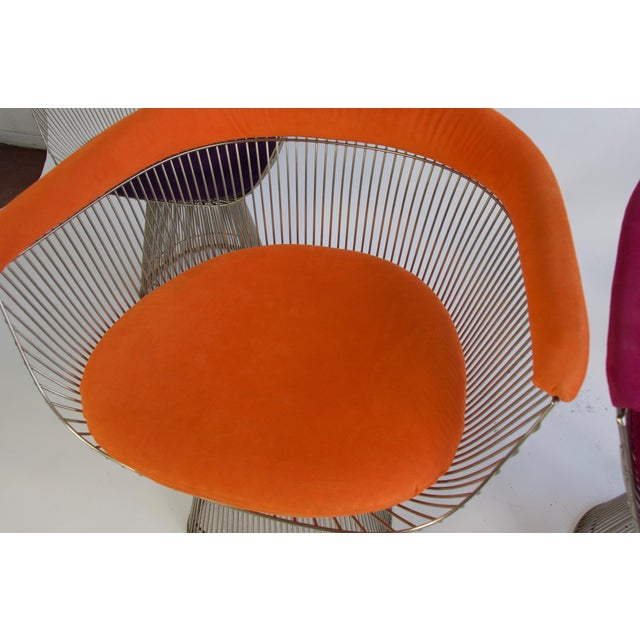 Textile Set of Four Warren Platner Chairs For Sale - Image 7 of 11