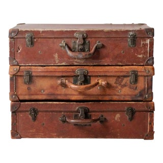 Antique Luggage Collection - Set of 3 For Sale