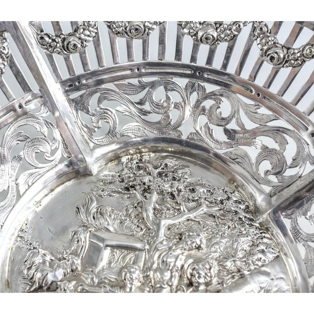 German 800 Silver Pierced Scalloped Repousse Floral Swags Rim Bowl, Circa 1900 - Image 4 of 5