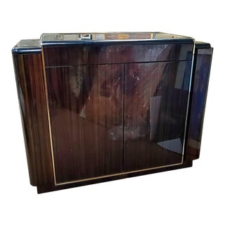 Metopolitan Macassar Ebony Bar Console Cabinet with Black Granite Top For Sale