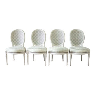 Louis XVI Style French Painted Cane Back Dining Chairs -Set of 4