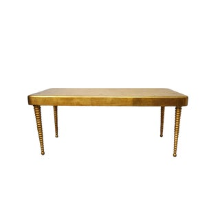 Vintage Gold Leafed Ribbed Leg Hollywood Regency Coffee Table For Sale