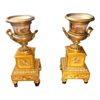 Antique 19th Century French Porcelain Urns, With Ormolu Handles on Ormolu Pedestal Bases - a Pair For Sale