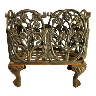 1920s Antique Heavy Solid Wrought Iron Magazine Rack For Sale