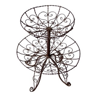 Vintage Wrought Iron Tiered Stand