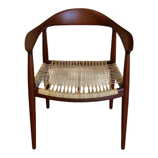 Mid-Century Modern Johannes Hansen for Hans Wegner Round Teak Side Chair For Sale - Image 12 of 12