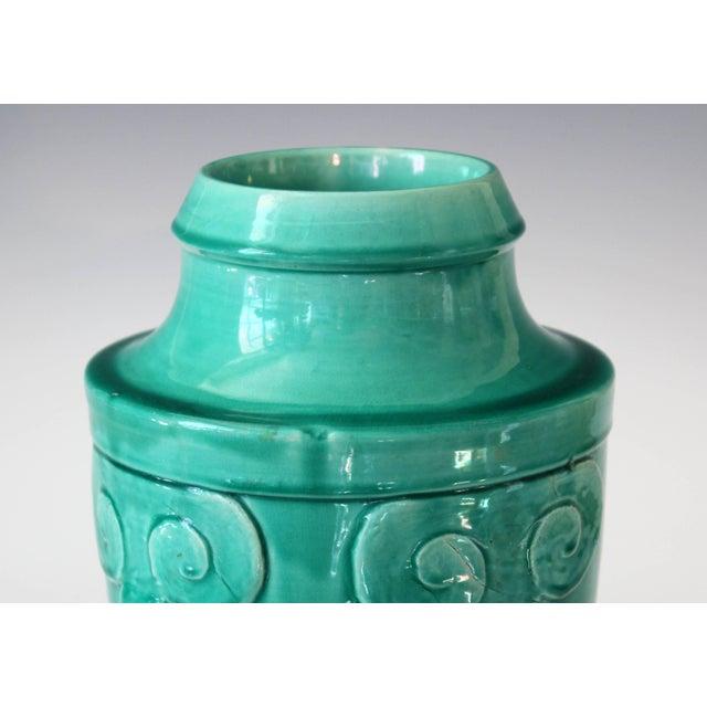 Turquoise Awaji Pottery Japanese Art Deco Rocket Form Vase For Sale - Image 8 of 11