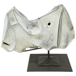 "Marcello Fantoni, ""Rhinocero"" Sculpture in Ceramic, Italy, 1973 For Sale"