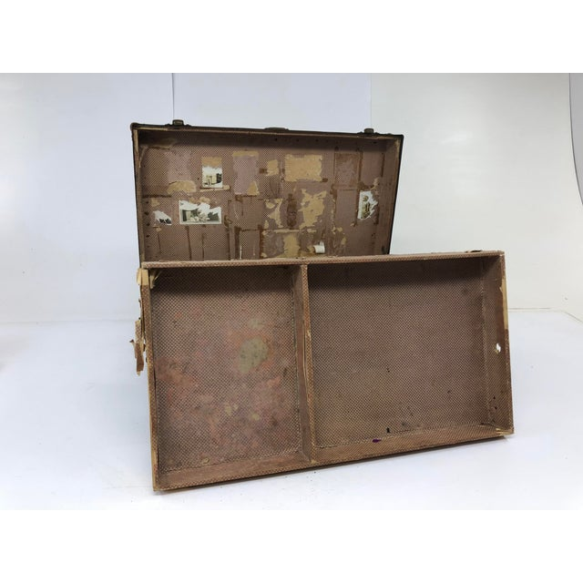 Vintage Industrial Green Wood Military Foot Locker Trunk W Tray For Sale - Image 12 of 13