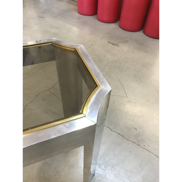 Milo Baughman 1970s Chrome Brass and Smoked Glass Baughman Style Console Table For Sale - Image 4 of 7