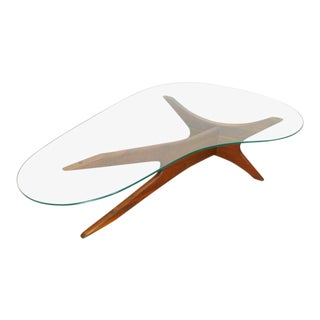 1960s Mid Century Modern Adrian Pearsall Amoeba Shaped Glass Coffee Table For Sale