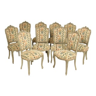 Late 20th Century Painted Louis XV Style Dining Room Chairs- Set of 10 For Sale