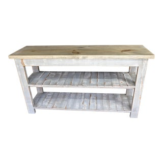 Gray Reclaimed Wood Console Two Shelf Table With Light Distress