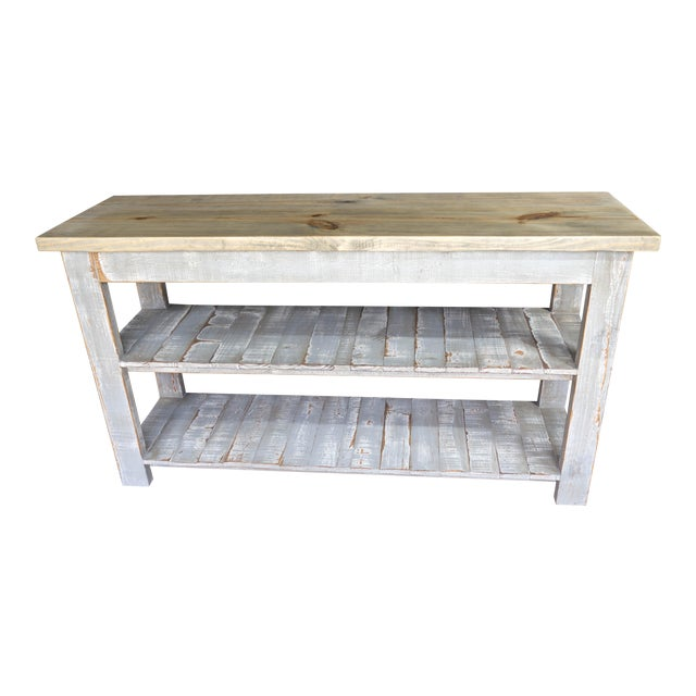 Gray Reclaimed Wood Console Two Shelf Table With Light Distress - Image 1 of 8