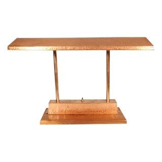 Vintage Craftsman Style Polished Copper Fluorescent Desk Lamp For Sale