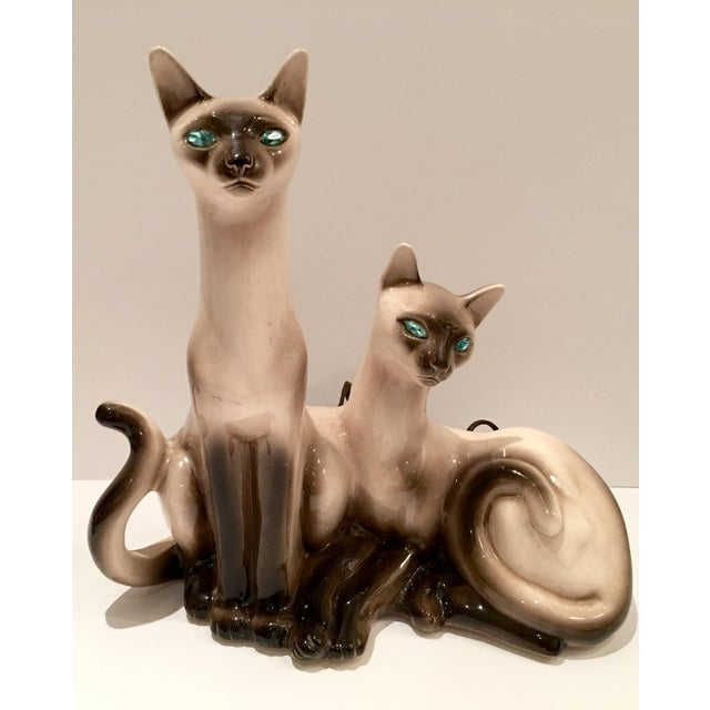 Vintage Siamese Twin Ceramic Cat Lamps - A Pair For Sale - Image 5 of 8