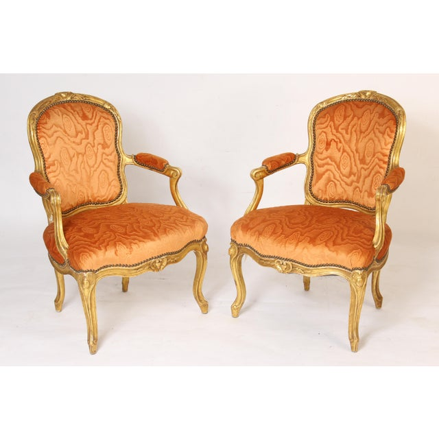 Antique Louis XV Style Gilt Wood Armchairs - a Pair For Sale - Image 11 of 11