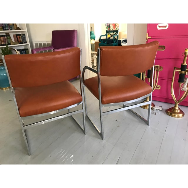 Chrome Flat-Bar Chairs in Leather Hide - A Pair - Image 4 of 5