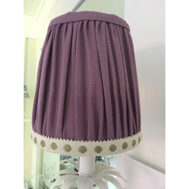 Paper Gathered Lavender Linen Sconce Lamp Shade With Citron Dot Tape Trim For Sale - Image 7 of 7