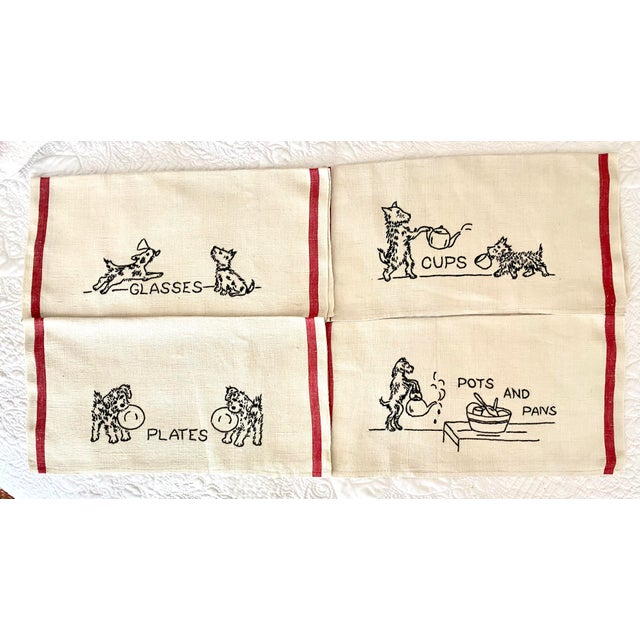 Textile Antique Shabby Chic Linen Embroidered Dish Towels, Set 4 For Sale - Image 7 of 7